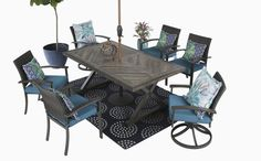 Outdoor Dining, Outdoor Tables, Outdoor Decor, Porch Furniture, Outdoor Furniture Sets, Dining Set, Dining Table, Swivel Dining Chairs, Farmhouse Table