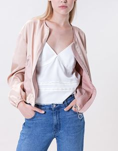 Satin bomber jacket - LAB COLLECTION - WOMAN | Stradivarius Spain