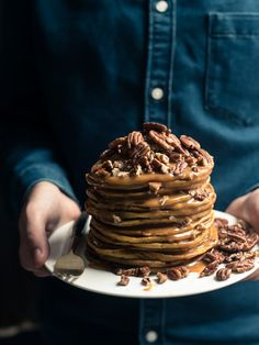 Today is the day I celebrate pumpkins as part of the #virtualpumpkinparty extravaganza! My contribution comes in the form of breakfast gluttony, pumpkin pancakes.
