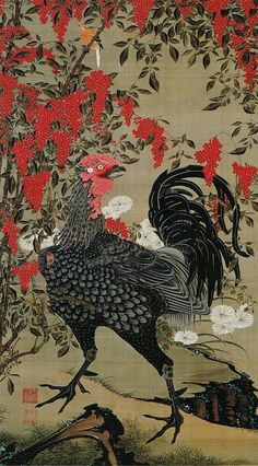 ito jakuchu: arte, cor e vida na era edo Art And Illustration, Illustrations, Japanese Artwork, Japanese Painting, Japanese Prints, Era Edo, Edo Period, Japanese Bird, Japanese Water