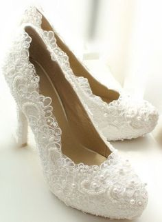 White lace high heels lace wedding shoes Bling bridal shoes prom shoes cute…