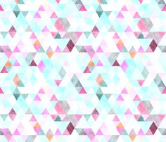 orchid watercolor triangles  fabric by ivieclothco on Spoonflower - wallpaper for kitchen