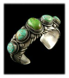 Modern five stone lime green Carico Lake Turquoise row bracelet by Native American artist Paul Livingston