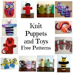 free knitting patterns for hand puppets and toys Knitting For Charity, Knitting For Kids, Free Knitting, Baby Knitting, Glove Puppets, Hand Puppets, Finger Puppets, Loom Knitting Projects, Easy Knitting Patterns