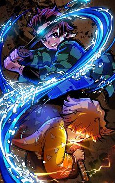 Tanjiro et Zen'itsu, Demon Slayer Hd Anime Wallpapers, Madara Wallpapers, Cool Anime Backgrounds, Live Wallpapers, Anime Angel, Anime Demon, Halloween Zombie Makeup, Zombie Make Up, Manga Anime