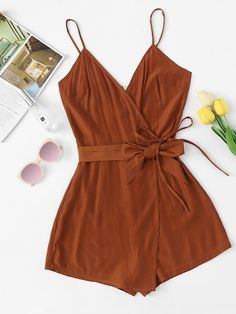 Discount Up to ROMWE Tie Waist Cami Belted Wrap Knot Brown Romper Female Summer Sleeveless Spaghetti Strap Mid Waist Casual Plain Playsuit Girls Fashion Clothes, Teen Fashion Outfits, Girl Fashion, Girl Outfits, Clothes For Women, Cute Rompers, Rompers Women, Cute Casual Outfits, Fashion Clothes