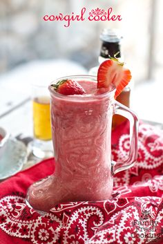 Cowgirl Coolers | Whiskey Strawberry Daiquiri Cocktail | recipe on FamilyFreshCooking.com @Marla Meridith