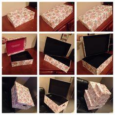 Caixas Organizadoras 📦📦📦📦. 3 dessas 4 caixas são caixas de papelão que iria para o lixo e  eu as revesti com papel e às transformei em caixas reutilizáveis, a outra é uma caixa de MDF que também a revesti com papel.... 😍😍😍 dica maravilhosa para quem vai joga uma caixa fora ☺️😊 📦 ninguém fala que é uma caixa de papelão que iria para o lixo??😉 #FicaDica