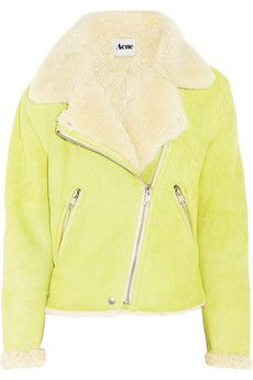 more yellow awesome coats, AcneRita shearling biker jacket brightens up winter days