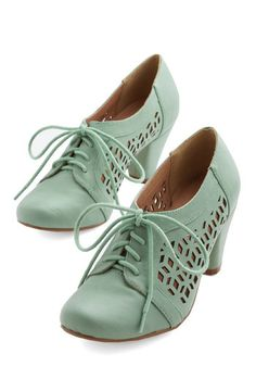 Gleeful Gait Heel by Chelsea Crew - Mid, Mint, Solid, Cutout, Work, Vintage Inspired, 20s, Pastel, Lace Up