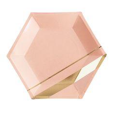 Goddess Blush Hexagon Party Plates Large  sc 1 st  Pinterest & Gold striped paper plates. Set of 8. Gold foil party plates. Gold ...