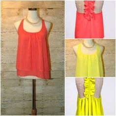 This bright and flowing tank comes in coral and neon yellow. Comes in Small, Medium & Large.