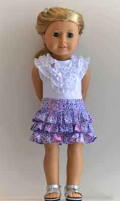18 Inch Doll, American Girl Doll Clothing, Knit Top And Skirt Ensemble