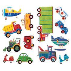 Vrolijk de kinderkamer op met deze kleurrijke auto muurstickers van het Amerikaanse merk Roommates. Bij ons vindt u heel veel kinderkameraccessoires, om een prachtige autokamer te maken.