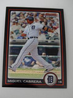 2010 Bowman Chrome #35 Miguel Cabrera Detroit Tigers Baseball Card #BowmanChrome #DetroitTigers