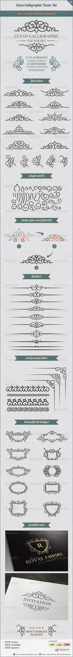 Clean Calligraphic Vector Set