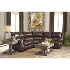Collinsville 5-Piece Sectional in Chestnut | Nebraska Furniture Mart