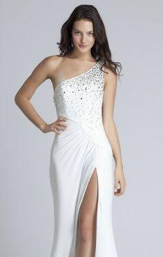 b74515593 Partido vestido de noche largo moldeado elegante de lujo sexy un hombro  hendidura lateral blanco formal