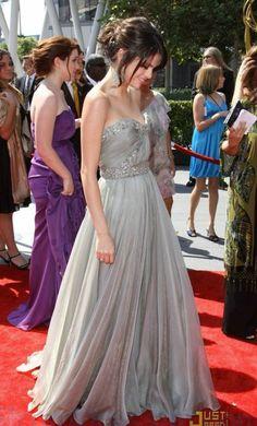 Selena Gomez Silver Strapless Evening Dress Creative Arts Emmys Red Carpet