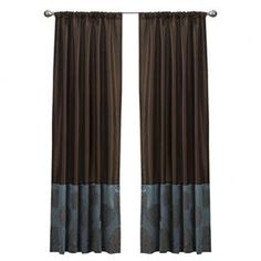 """$24.95  Faux silk curtain panel in chocolate and blue floral embroidery.  Product: Curtain panelConstruction Material: Faux silkColor: Blue and chocolateFeatures: Floral embroidery designDimensions: 84"""" H x 54"""" W  Note: Image depicts two curtain panels, price is for one Cleaning and Care: Dry clean only"""