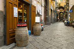 Wine store in centro storico quarter of Naples Italy Europe