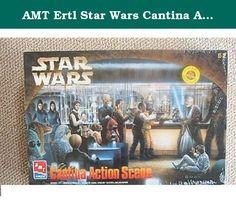 AMT Ertl Star Wars Cantina Action Scene Model Kit 8205. Skill Level 2;Vacuum-Formed Base Measures 16 1/2 X 11;Includes Luke Skywalker, Obi Wan Kenobi, Han Solo and Chewbacca figures;Includes over 50 parts.