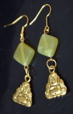 "Gold Buddha Lt Green Agate 2"" Dangle Drop Earrings  #MGK #DropDangle"