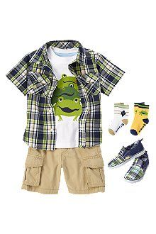 Leapfrog Fun  Hop into spring! Wear a cute leapfrog tee with comfy cargo shorts and playful socks. Prep it up with a plaid shirt and patchwork sneakers.