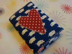 White pig and red polka dot heart applique diary cover