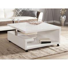 angel table basse carrée style contemporain laquée blanc brillant