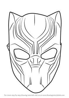 How to Draw Black Panther Mask - DrawingTutorials101.com