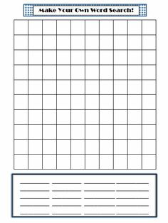 Make Your Own Word Search template for spelling words for advanced third graders
