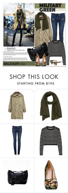 """Attention! Go Army Green with PaoloShoes"" by spenderellastyle ❤ liked on Polyvore featuring мода, Tu Es Mon Trésor, Armand Diradourian, Balmain, TIBI и CÉLINE"