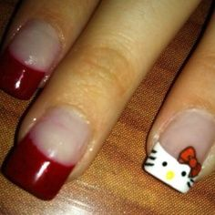 Hello Kitty tip is cute. But the red on the other nails is WAY too thick Funky Nails, Red Nails, Cute Nails, Pretty Nails, Hair And Nails, Red Nail Designs, Beautiful Nail Designs, Beautiful Nail Art, Gorgeous Nails