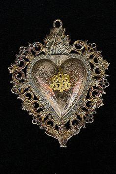 Italian Plated Sacred heart Ex-Voto Monogrammed