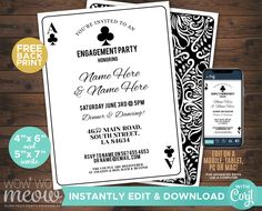 Playing Cards Invitations Clubs Couple's Shower Invite Engagement Party INSTANT DOWNLOAD Black Las Vegas Casino Wedding Editable WCWE003 Printing Websites, Printing Services, Online Printing, Shower Invitations, Birthday Invitations, Birthday Cards, Invite, Las Vegas Party, Vegas Casino