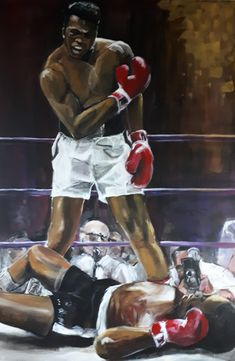 Cassius Clay versus Sonny Liston - acrylic (2020) My Arts, Clay, Statue, Painting, Clays, Painting Art, Paintings, Painted Canvas, Sculptures