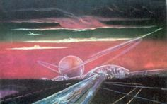 A city and a superhighway, by Sergei Gavrish | How Soviet Artists Imagined Communist Life in Space