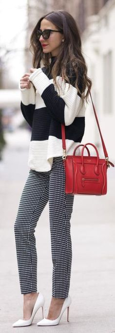 This outfit could be taken straight out of my closet. Like the mix of stripes with slim check pants for work.