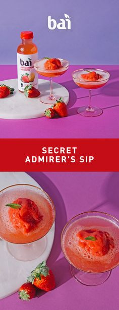 It's love at first sip with this cocktail featuring Bai São Paulo Strawberry Lemonade, a flavorful refreshment with just 5 calories, 1 gram of sugar and no artificial sweeteners. Please drink responsibly. Must be 21+.