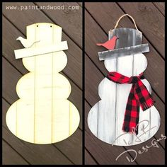 Do you want to build a snowman? This DIY Snowman Door Hanger has 2 feature pieces and grooves etched in to give it a shiplap look. Our door hangers are professionally laser cut from a smooth Christmas Wood Crafts, Christmas Projects, Holiday Crafts, Christmas Crafts, Winter Wood Crafts, Christmas Signs, Spring Crafts, Christmas Christmas, Wine Bottle Crafts