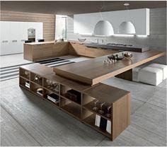 Duża kuchnia, drewniana kuchnia, kuchynia z jadalnią, otwarta kuchnia, wyspa kuchenna. Zobacz więcej na: https://www.homify.pl/katalogi-inspiracji/18054/kuchnia-laczona-z-jadalnia-7-pomyslow-na-piekna-i-funkcjonalna-przestrzen-dzienna