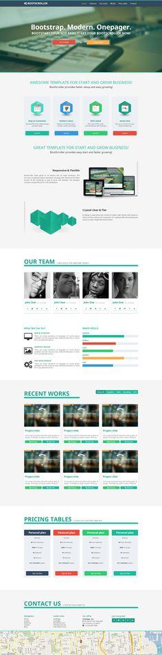 BootScroller responsive bootstrap one page by Zizaza - design ocean , via Behance