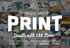 the-ultimate-print-templates-bundle-preview 10 Flyer Templates  20 Brochure Templates  50 Business Card Templates  10 Stationery Templates  10 Resume Templates  8 Cards & Invites Templates  6 Logo Templates  4 Mockups Templates  4 Photoshop Actions  4 Graphics Packs  2 Magazine Layouts  2 Letterheads