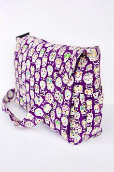 Purple Bonehead Skulls Punk Rock Diaper Bag - Ready To Ship