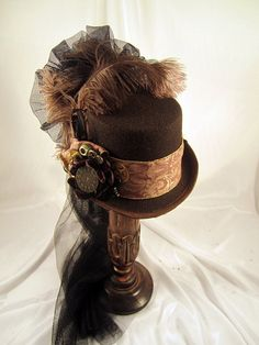 Steampunk Brown Riding Hat with Brocade trim and Gears with Netting