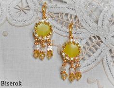 Solar earrings with jade, jade beads braided beads, bead earrings with pendants, a master class, u, MC scheme