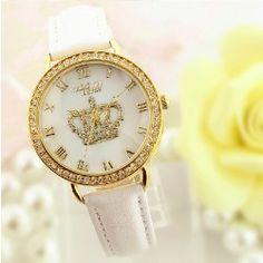 New Fashion Retro Style Crystal Crown Polymer Clay Novelty Watch - USD $44.95