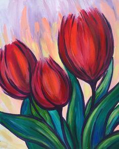Shrubs tulip painting red tulips tulips aesthetic tulips in Tulip Painting, Acrylic Painting Flowers, Simple Acrylic Paintings, Spring Painting, Gouache Painting, Tulip Drawing, Easy Flower Painting, Flowers On Canvas, Acrylic Painting Inspiration