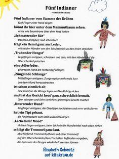 "Finger game ""The 5 Indians"" - KitaKram.de - Finger game ""The 5 Indians"" – KitaKram. Finger Games, Grade Tracker, Kindergarten Portfolio, Westerns, Bullet Journal Key, Kids Schedule, Finger Plays, A Little Party, Water Balloons"